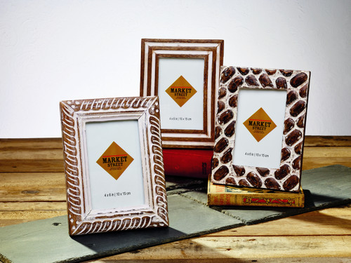 Set of 3 Mango Burnt Wood Finish Frames 4in. x 6in.