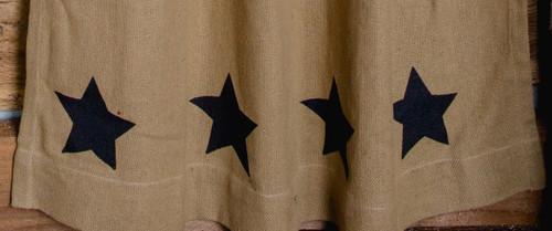 Deluxe Burlap Natural Tan Stencil Star Short Panel