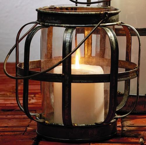 Medium Galvanized Metal & Glass Lantern