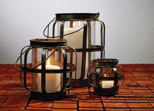 Large Galvanized Metal & Glass Lantern