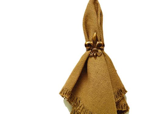 Antique Brass Fleur De Lis Napkin Ring