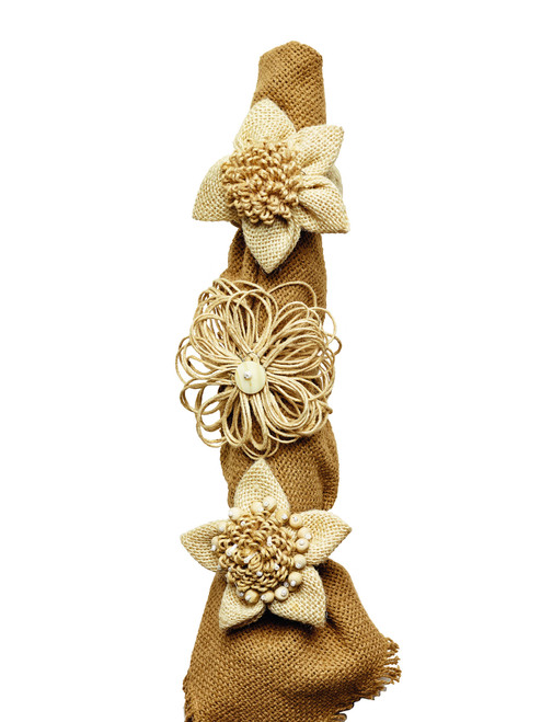 Burlap Fabric Flower Napkin Ring - Set of 3