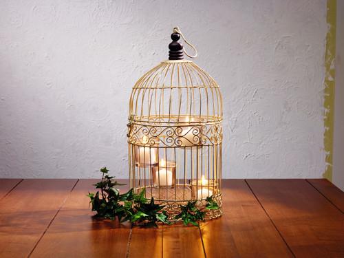 Cream Wire Birdcage Tealight Holder