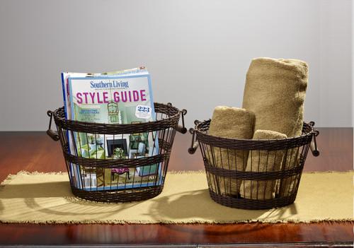 Weave Stripe Wire Baskets - Set Of 2
