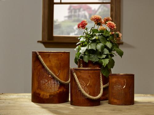 Punched Leaf Pillar Holder Buckets - Set Of 4