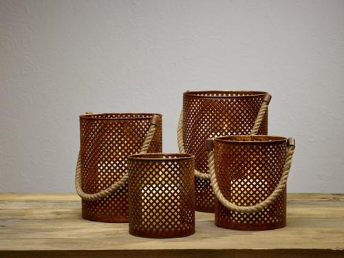 Punched Lattice Pillar Holder Buckets - Set Of 4