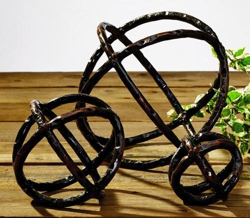 Burnt Iron Metal Orbs - Set Of 3