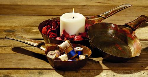 Antique Rust Vintage Replica Candle Pans - Set Of 3
