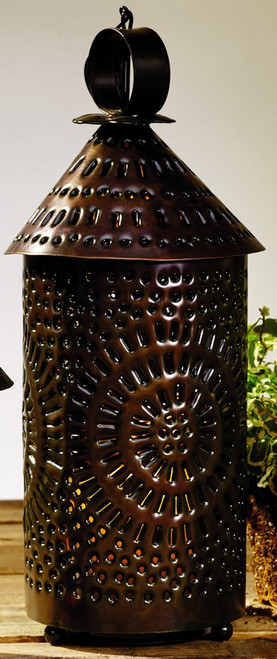 Large Black Cone Top Punched Tin Lantern