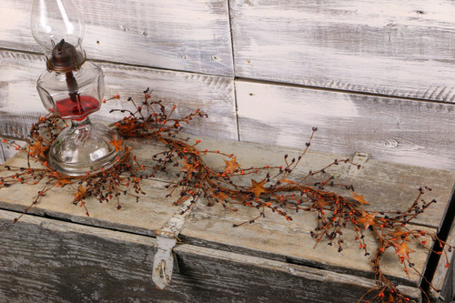 "40"" Primitive Mix Pip Berry & Rusty Star Garland"