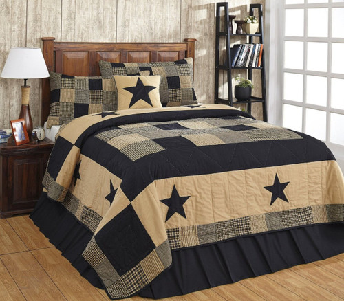Twin Jamestown Black And Tan Quilt Set - 2 Piece