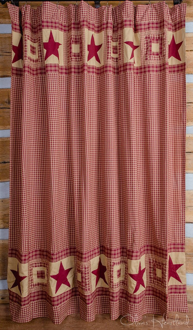 Colonial Star Burgundy and Tan Shower Curtain