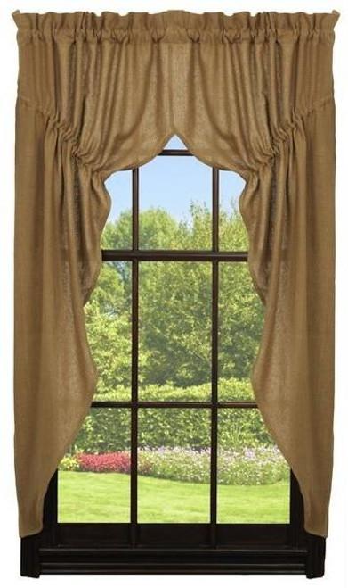 Deluxe Burlap Natural Tan Prairie Curtain