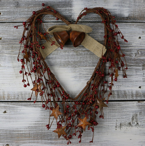 Heart Wreath with Pip Berries and Stars