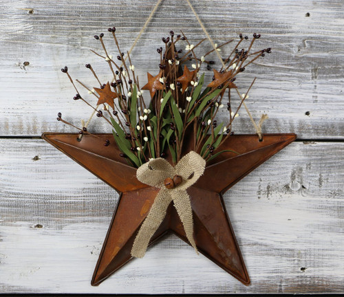 """Tin Star Basket with Pip Berries, 15"""""""