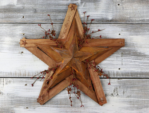Wooden and Tin Star with Pip Berries