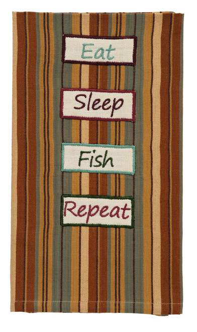 "Cordwood Eat Sleep Fish Dishtowel: 20""X28"""