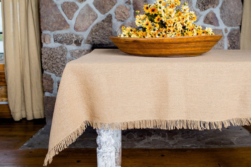 60in x 102in Deluxe Burlap Natural Tan Table Cloth