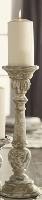 Large Distressed Green Wood Candlestick