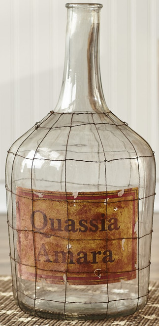 Large Glass Jug With Wire Wrap & Label
