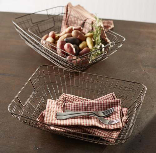 Antique Wire Baskets - Set Of 3