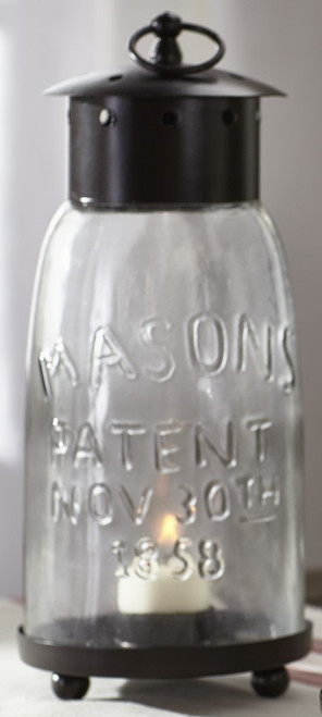Large Mason Jar Lantern With Metal Top