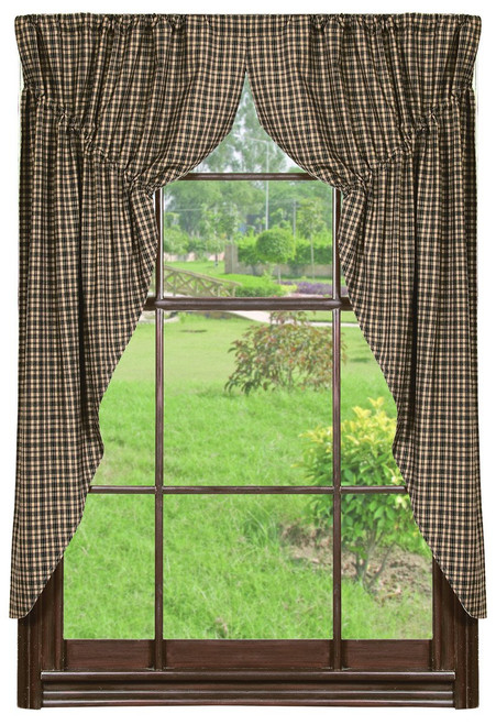 Vintage Star Black Prairie Curtain Set