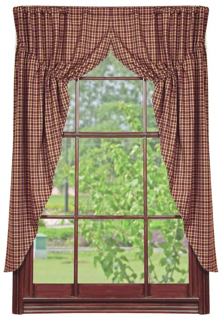 Vintage Star Wine Prairie Curtain Set