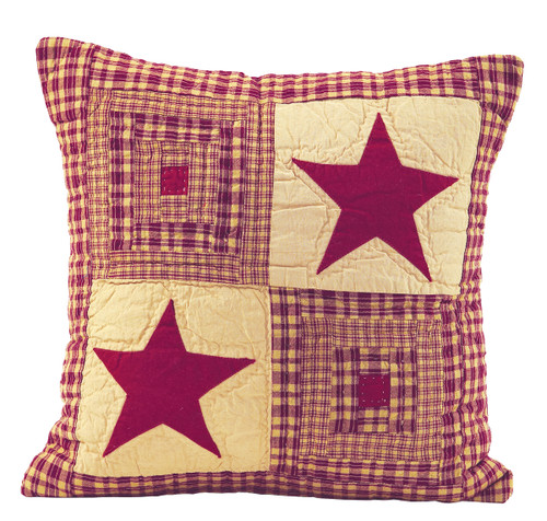 Vintage Star Wine Quilted Pillow Cover