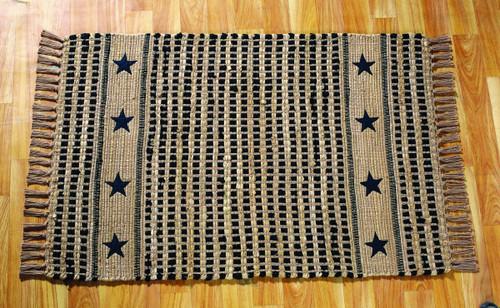 Vintage Star Black Rectangle Rug