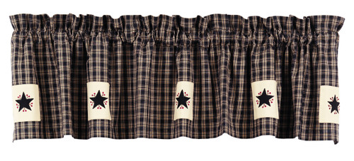 Cambridge Black Applique Star Valance