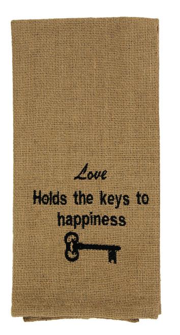 Burlap Check Keys To Happiness Dishtowel