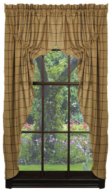 Burlap Check Prairie Curtain Set