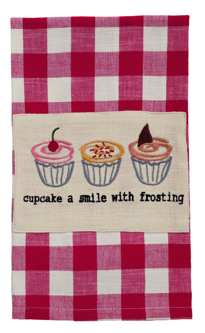 Picnic Red Cup Cake Gingham Dishtowel