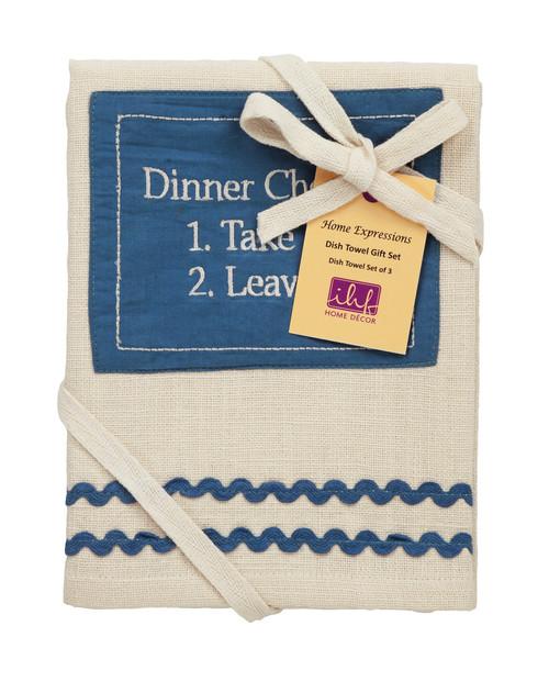 Picnic Blue Dishtowel Gift Set - Set of 3