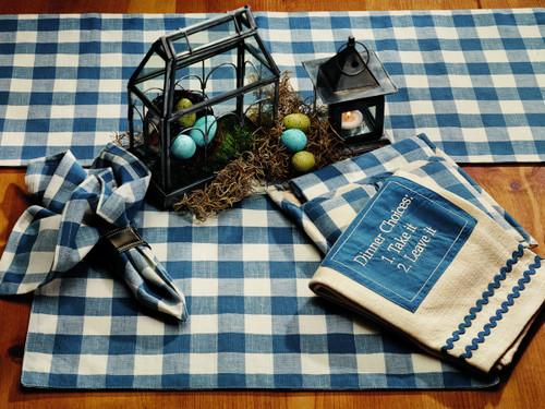 Picnic Blue Long Table Runner