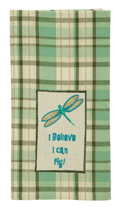 "Robins Egg ""I Believe I Can Fly!"" Embroidered Dishtowel"
