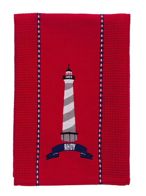 "Wheel ""Ahoy"" Lighthouse Dishtowel"