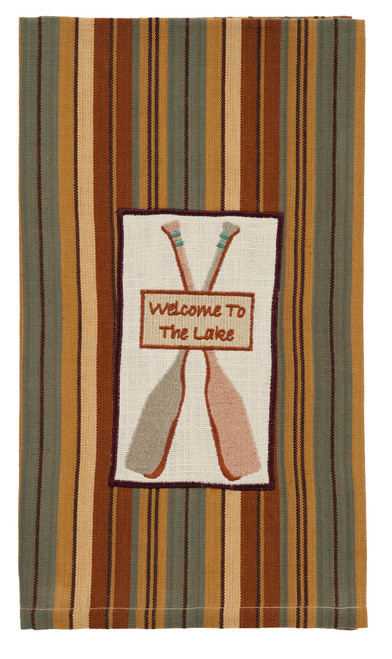 Cordwood Welcome To The Lake Dishtowel