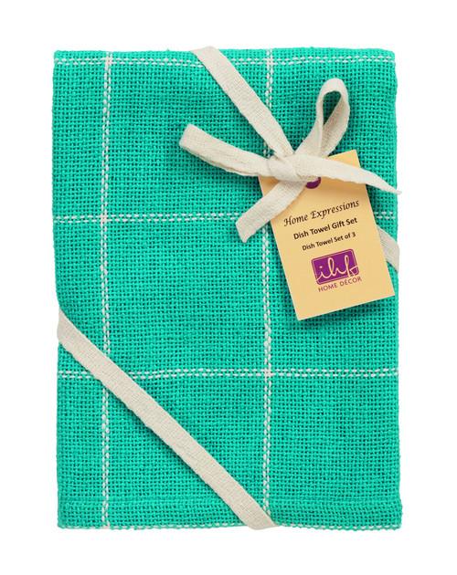 Burlap Check Turquoise Dishtowel Gift Set - Set of 3