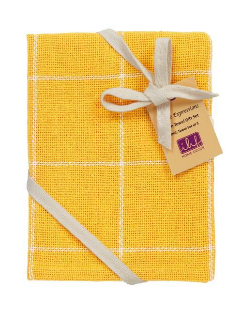 Burlap Check Yellow Dishtowel Gift Set - Set of 3