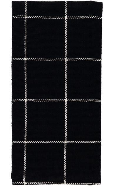 Burlap Check Black Dishtowel