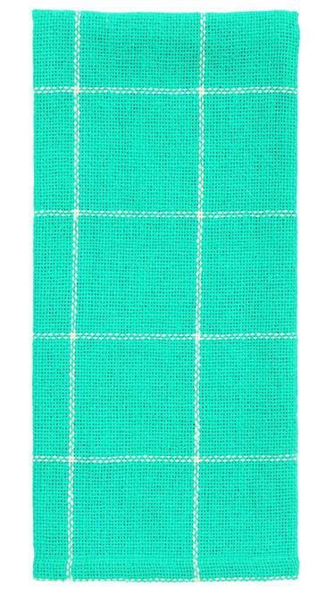 Burlap Check Turquoise Dishtowel