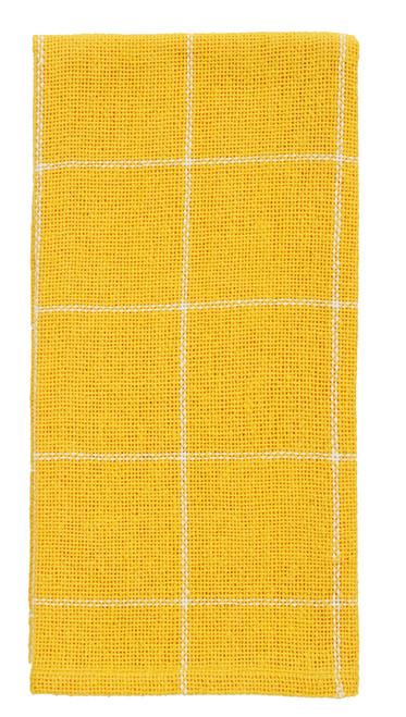 Burlap Check Yellow Dishtowel