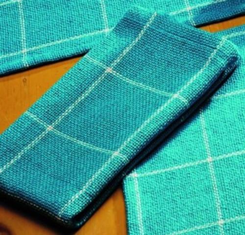 Burlap Check Turquoise Napkin