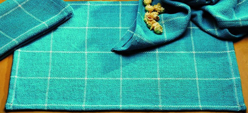 Burlap Check Turquoise Placemat