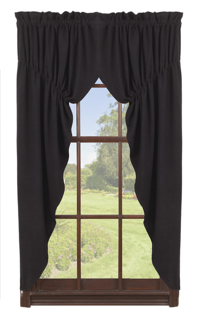 Burlap Black Prairie Curtain Set