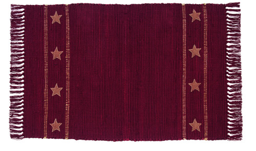 Burlap Star Wine Rectangle Rug