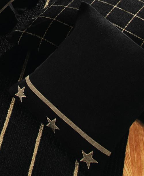 Burlap Star Black Pillow Cover