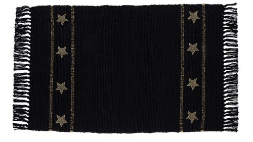 Burlap Star Black Rectangle Rug